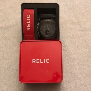 Relic Pulsar black stainless steel clasp watch